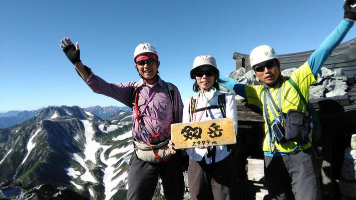 数々の難所を乗り越えて着いたここが剱岳山頂 2999m