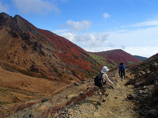 峰の茶屋跡からは最初に登った登山道を下ります。