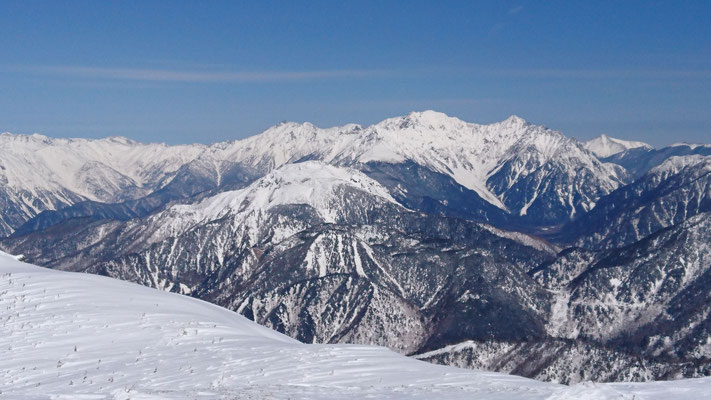 猫岳山頂から、手前、焼岳。奥が穂高連峰