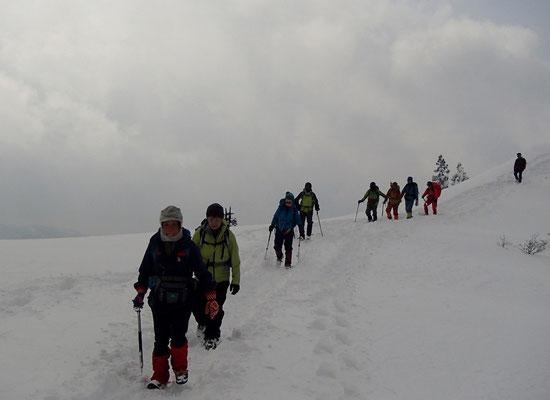 西南稜は広い雪原が