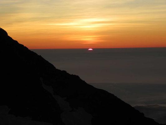 夕食後、沈む夕日 オレンジ色の空がいつまでも
