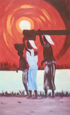 Village Sunset, 58 x 36, canvas on paper, 100€