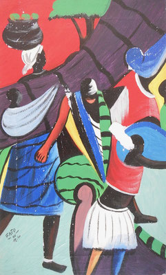 Happy News in Zua Town, 58 x 36, canvas on paper, 100€