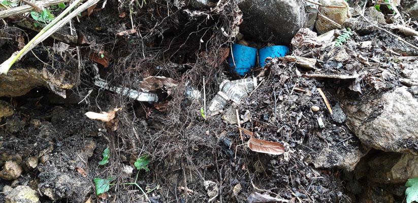 Nach und nach wird der Hang aufgegraben; es wird deutlich: die Funde wurden nicht hingeworfen oder geschüttet, sie wurden fein säuberlich gelegt und mit Platten abgedeckt ...