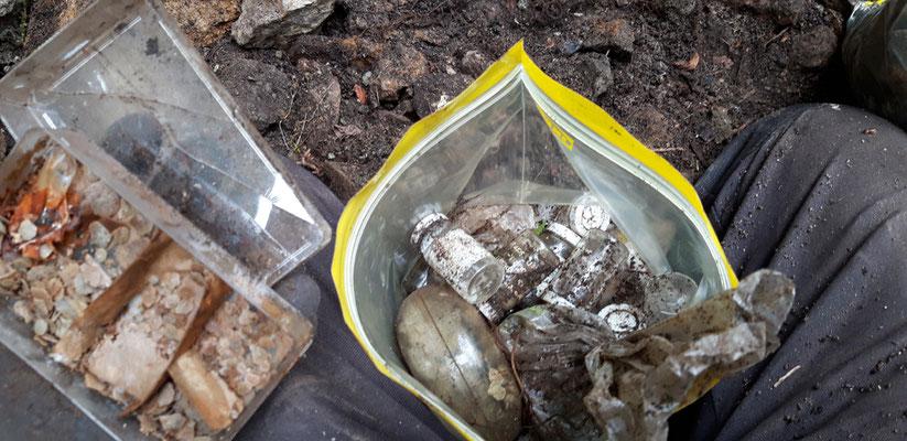 ... und massenhaft kleine Gläschen, unter Anderem gefüllt mit Mikrofossilien und Mini-Seeigeln ...