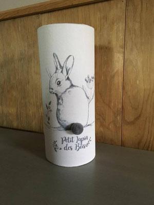 Lampe lapin crayon pompon gris