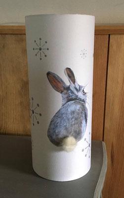 Lampe lapin pompon petits motifs gris