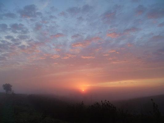 der Blick gen Osten gerichtet, gerade ist die Sonne am Horizont emporgestiegen