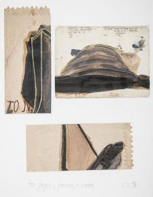 für joyce,james+nora, 1998, ölfarbe,bleistift,kreide/papiertüte