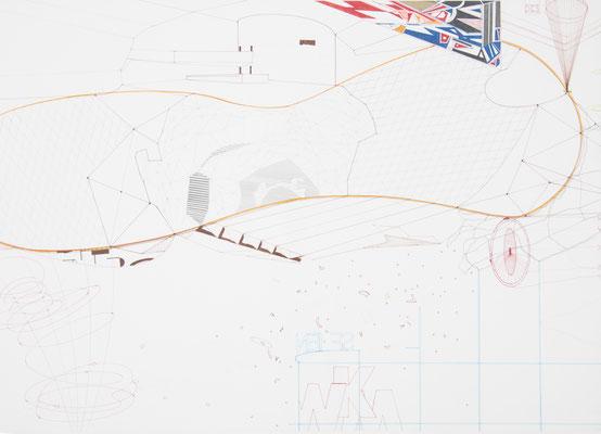 das goldene dreieck, 2006, 50 x 70cm, bleistift, farbstifte/papier
