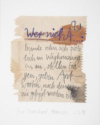 für bernhard,thomas, 1998, ölfarbe,bleistift/papiertüte