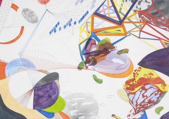 o.t. (anflug), 2008, 70 x 100cm, aquarellfarbe, bleistift, farbstifte/papier