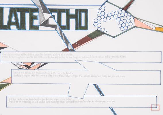 late echo, 2006, 21 x 29,5cm, bleistift, kreidestift, farbstifte/papier