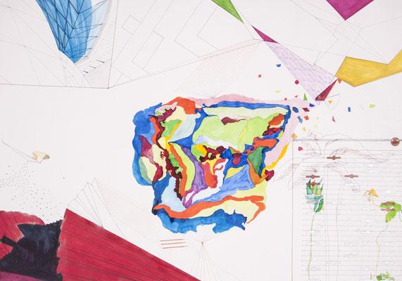 drift, 2008, 50 x 70cm, aquarellfarbe, bleistift, farbstifte/papier