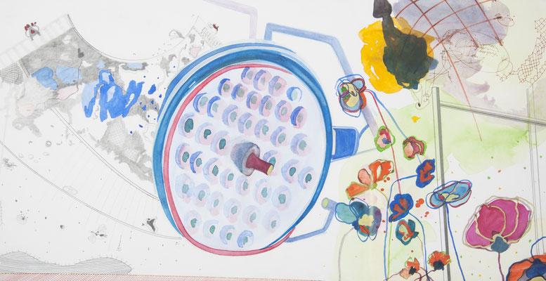 die blumen des forschens, 2010, 36,5 x 70cm, aquarellfarbe, bleistift, farbstifte/papier