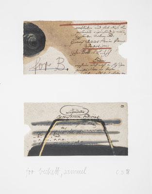 für beckett,samuel, 1998, ölfarbe,kreide/beschriebenes dokumentenpapier