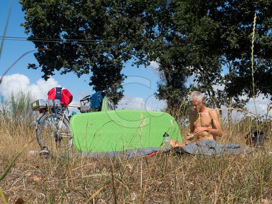09.09.   Trockenpause nach camping sauvage à côté Redon