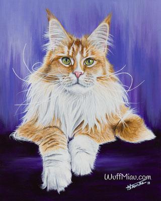 """Sweet Proud Tigers Kassandra"" Main Coon 50x40, Hundemalerei und Katzenmalerei ""WuffMiau"" Künstlerin Hanna Stemke 2018 (Fotovorlage Cat'chy Images)"