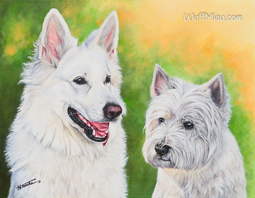 """""""Amira und Timmy"""" Weißer Schäferhund und West Highland White Terrier Acrylgemälde 90x70, """"WuffMiau"""" Hundemalerei Künstlerin Hanna Stemke"""