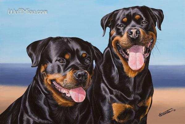 """Joyce und Konan"" Rottweiler Acrylgemälde 120x80, Hundemalerei und Katzenmalerei ""WuffMiau"" Künstlerin Hanna Stemke"