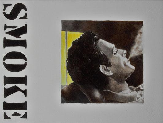 Smoke, Öl auf Holz, 15x30 cm