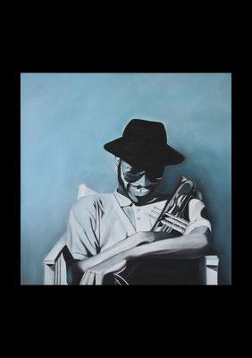 Jazztrompete, Öl auf Leinwand, 100x100 cm