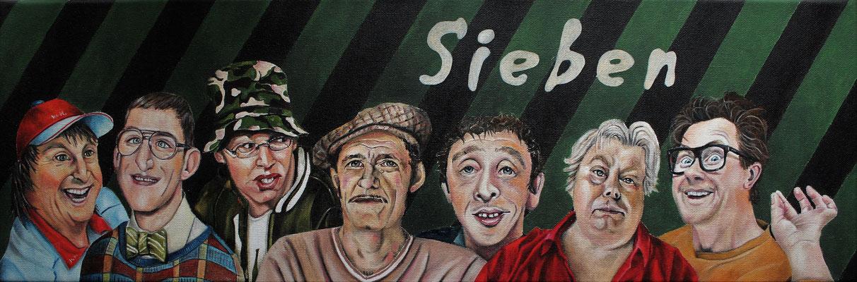 """""""Sieben""""; Öl auf Leinwand, 60x20 cm"""