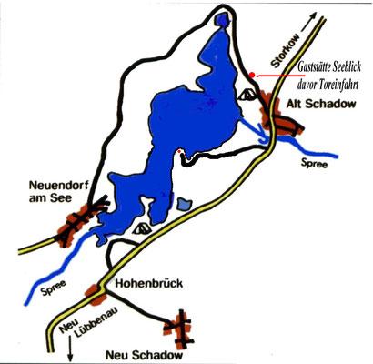 Lage unserer Ferienhäuser am Neuendorfer See