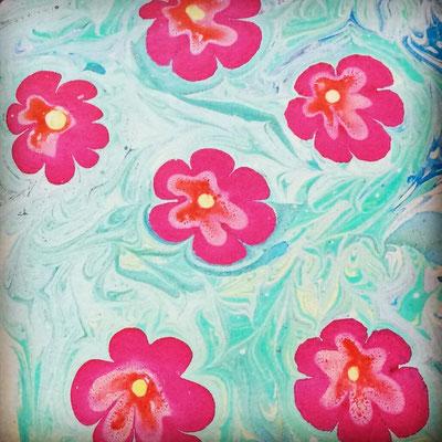 Marmorpapier, Blumenwiese