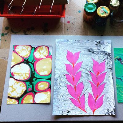 Marmorpapier, Experiment und Pflanze