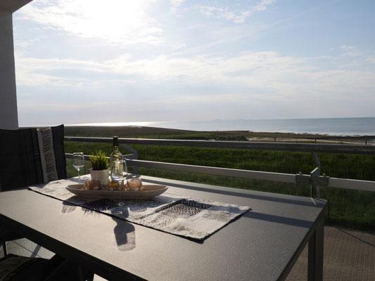 Der fantastische Meerblick aus der Ferienwohnung Nr. 13 in der Residenz Windjammer