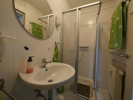 Das Badezimmer mit Dusche in der Robbenplate