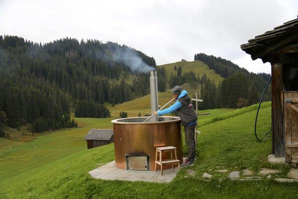 Hotpot am Maiensäss - noch zu kalt...