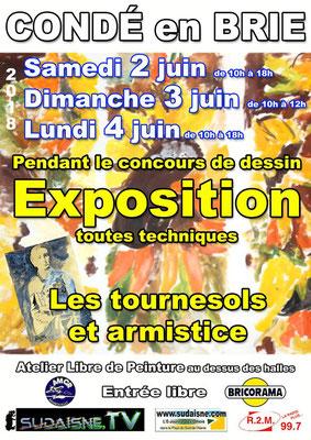 Samedi 2, dimanche 3, et lundi 4 juin : Exposition et concours de dessin Atelier Libre de Peinture.