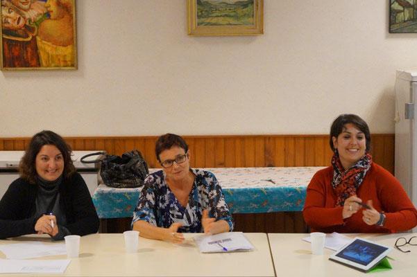 De gauche à droite : Isabelle Breton, secrétaire, Lucie Haumont, présidente et Rachel Mérat, trésorière.