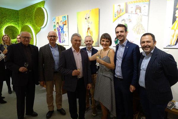 Au premier plan, de gauche à droite : Michel Baroux, Etienne Haÿ, Jean-Jacques Ecorce, Anna Météyer, Sébastien Eugène et Fatha Nekhili. Derrière le groupe : Franck Météyer.