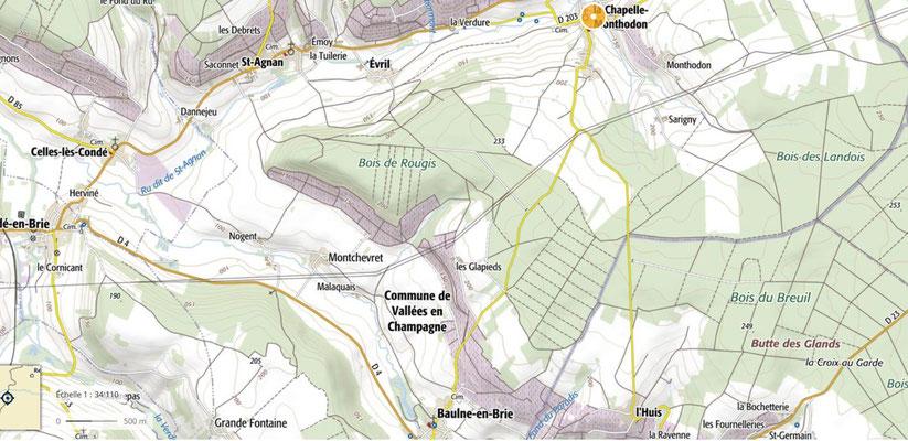 La commune de Vallées-en-Champagne regroupe Baulne-en-Brie, La Chapelle-Monthodon et Saint-Agnan.