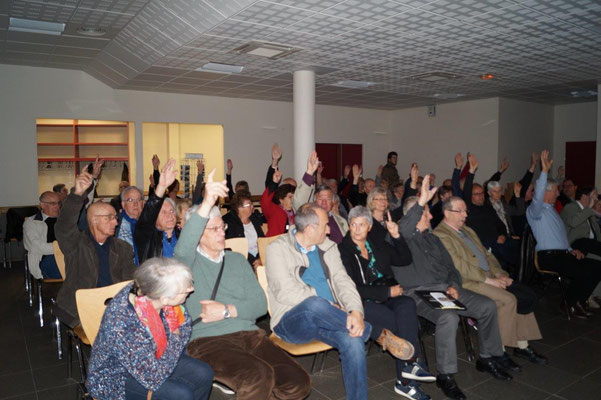 Les mains se lèvent pour l'adoption du rapport moral du président de l'association, Yves Coquel.