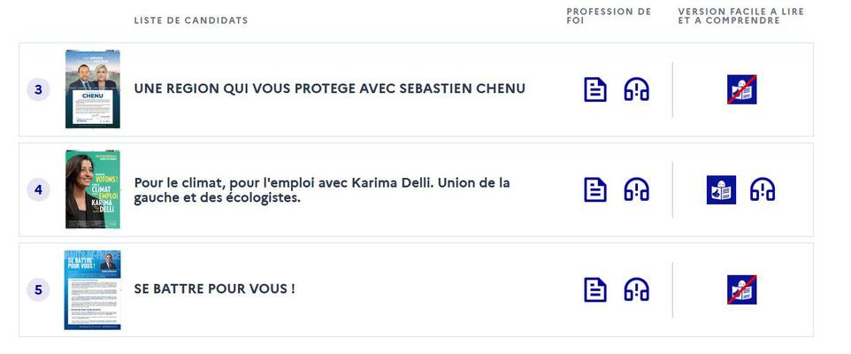 Les listes qualifiées pour le second tour des élections régionales dans les Hauts-de-France.