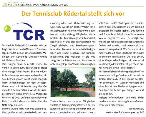 """Artikel in der Q1 Ausgabe 2017 der Zeitschrift """"sachsen tennis"""" des Sächsischen Tennisverbands"""