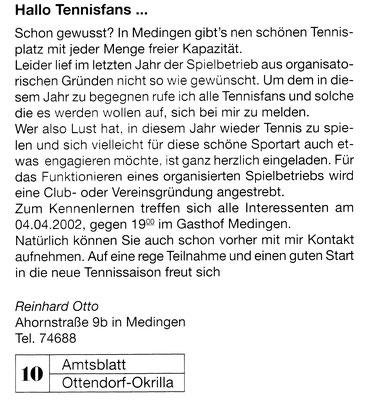 """Aufruf zur Mitgliederfindung im """"Amtsblatt Ottendorf-Okrilla"""" im März 2002"""
