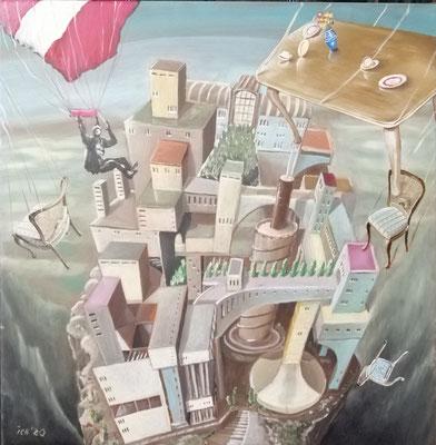 Invasion mit Kaffeetisch, 2020, 50 x 50 cm, Öl auf Leinwand