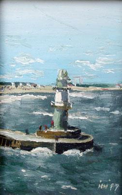 Leuchtturm an der Mole, 1999, 20 x 30 cm, Öl auf Leinwand