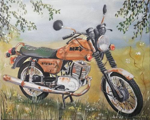 ETZ 250 naturbelassen, 2019, 50 x 40 cm, Öl auf Leinwand