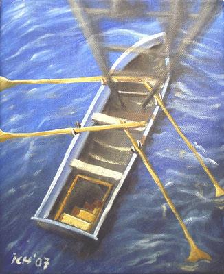 Lebensboot, schwebend im 3D-Raum, 2007, 30 x 40 cm, Öl auf Leinwand