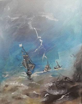 Meerestriptichon 1, 2019, 40 x 50 cm, Öl auf Leinwand
