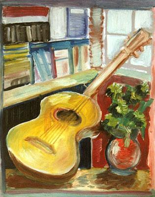 Gitarre und Vase, 1998, 50 x 70 cm, Öl auf Druckplatte