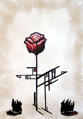 Die Wiederentdeckung der Rose, 1998, 68 x 48 cm, Öl auf Hartfaser