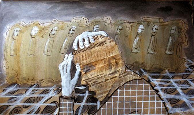 Ohnmacht, 1996, 74 x 32 cm, Collage, Mischtechnik auf Karton