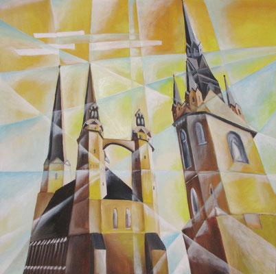 Marktkirche in Halle, 2008, 80 x 80 cm, Öl auf Leinwand